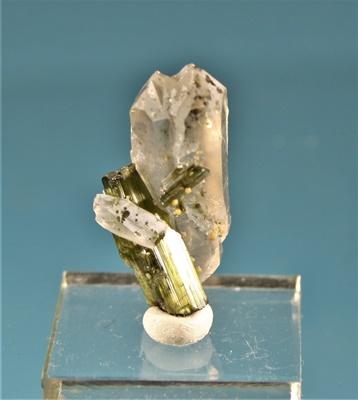 Verdelith auf Bergkristall Brasilien